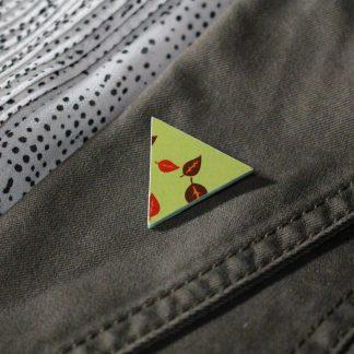 Broche mini triangulaire- Motif Automne, Vert