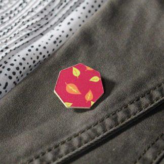 Broche mini hexa - Motif Automne, Rose