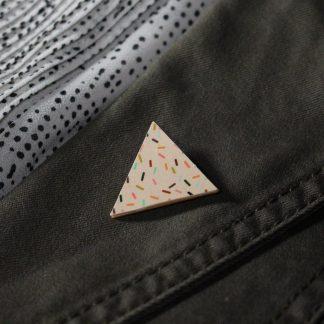 Broche mini triangle - Motif Confettis, Rose