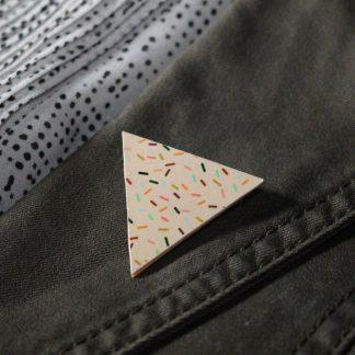 Broche maxi triangle - Motif Confettis, Rose
