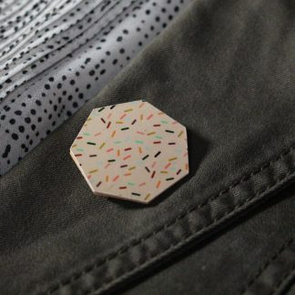Broche maxi hexa - Motif Confettis, Rose