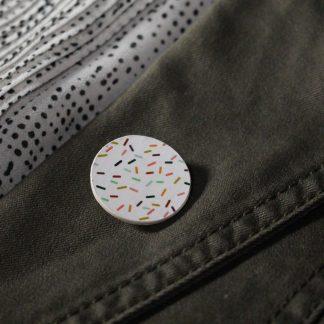 Broche mini ronde- Motif Confettis, Blanc