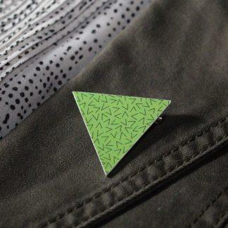 Broche maxi triangle - Motif Vermicelle, Vert