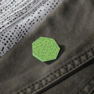 Broche mini hexa - Motif Vermicelle, Vert
