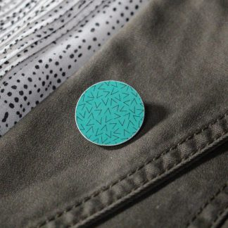 Broche mini ronde - Motif Vermicelle, Turquoise