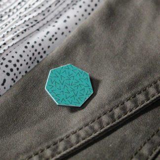 Broche mini hexa - Motif Vermicelle, Turquoise