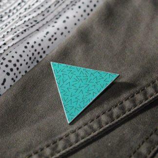Broche maxi triangle - Motif Vermicelle, Turquoise