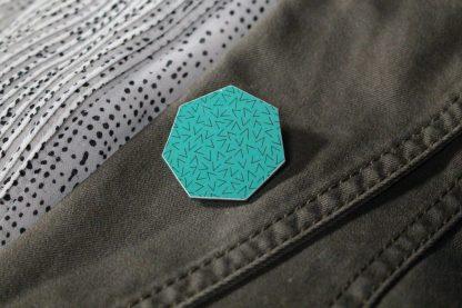 Broche maxi hexa - Motif Vermicelle, Turquoise
