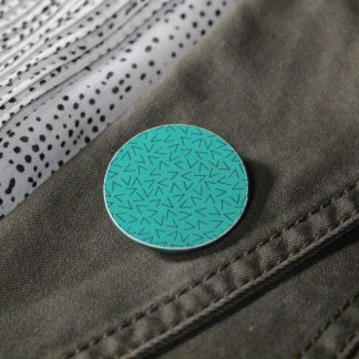 Broche maxi ronde - Motif Vermicelle, Turquoise