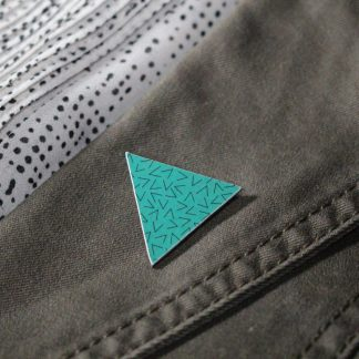 Broche mini triangle - Motif Vermicelle, Turquoise