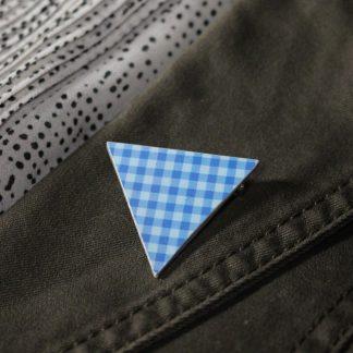 Broche maxi triangle- Motif Vichy, Bleu
