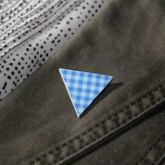 Broche mini triangle- Motif Vichy, Bleu