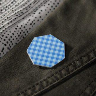 Broche maxi hexa- Motif Vichy, Bleu