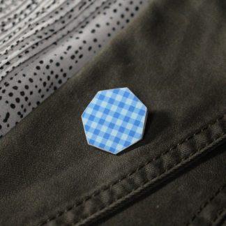 Broche mini hexa- Motif Vichy, Bleu
