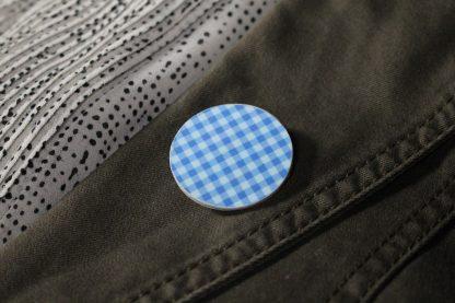 Broche maxi ronde - Motif Vichy, Bleu