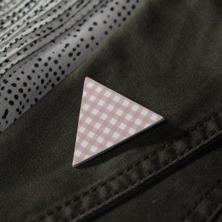 Broche maxi triangle - Motif Vichy, Rose