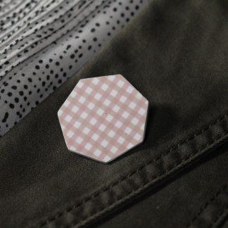 Broche maxi hexa - Motif Vichy, Rose
