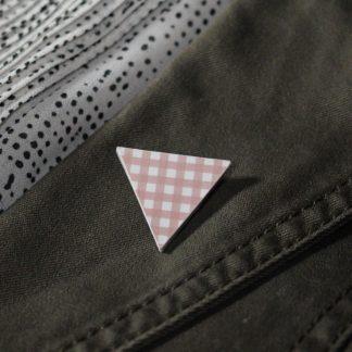 Broche mini triangle - Motif Vichy, Rose
