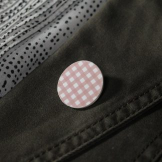 Broche mini ronde - Motif Vichy, Rose