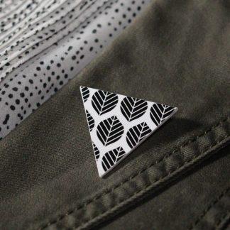 Broche maxi triangulaire - Motif Sylvia, Noir et blanc