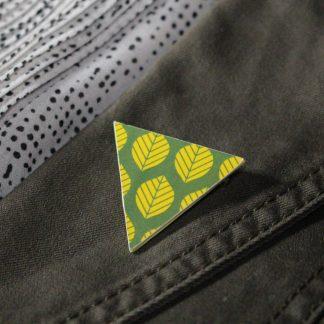 Broche maxi triangulaire - Motif Sylvia, Jaune et vert
