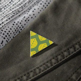 Broche mini triangulaire - Motif Sylvia, Vert et jaune