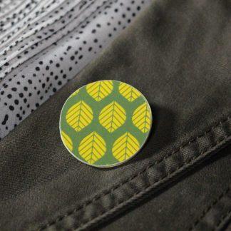Broche maxi ronde - Motif Sylvia, Vert et jaune