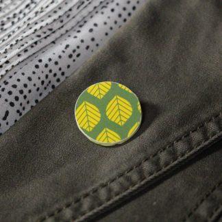 Broche mini ronde - Motif Sylvia, Vert et jaune