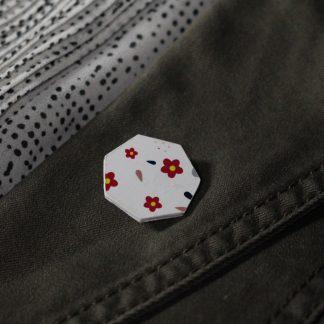 Broche mini hexa- Motif Fleuri, Blanc