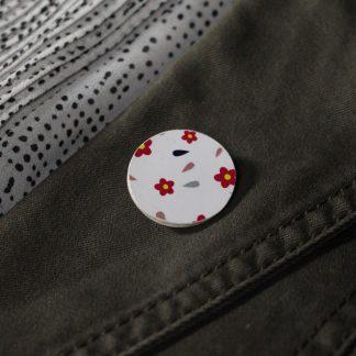 Broche mini ronde- Motif Fleuri, Blanc
