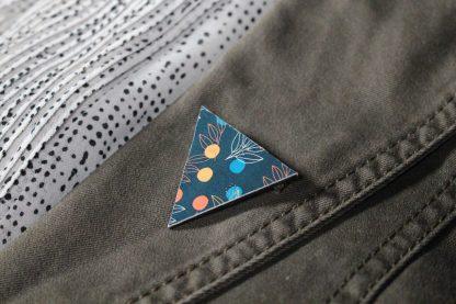 Broche maxi triangle- Motif Louise, Bleu