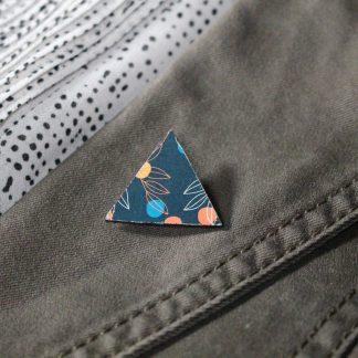 Broche mini triangle- Motif Louise, Bleu