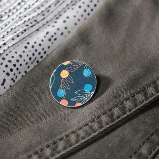 Broche mini ronde - Motif Louise, Bleu