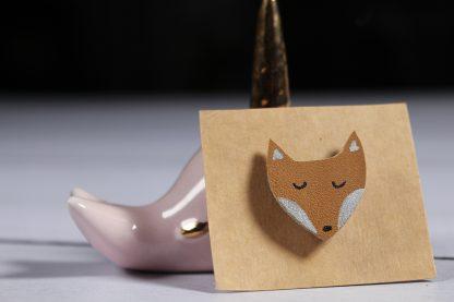 Broche renard beige