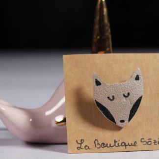 Broche renard argentée