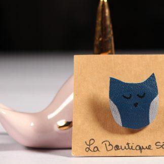 Broche chouette bleue