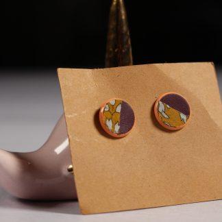 Boucles d'oreilles puces cuir et tissu - Violet