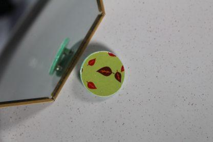 Broche mini ronde - Motif Automne, Vert