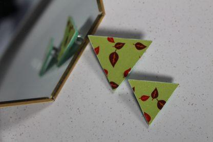 Broches triangulaires- Motif Automne, Vert