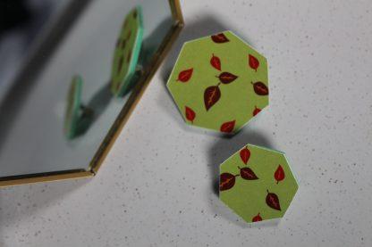 Broches hexagonales - Motif Automne, Vert