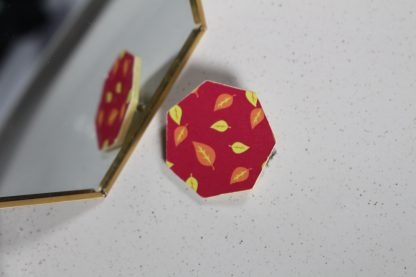 Broche maxi hexa - Motif Automne, Rose