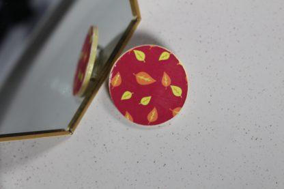 Broche maxi ronde - Motif Automne, Rose