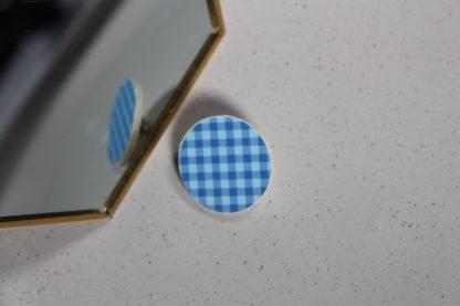 Broche mini ronde - Motif Vichy, Bleu