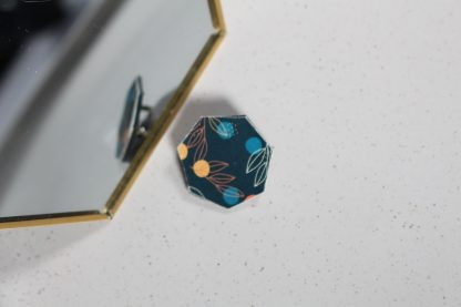 Broche mini hexa- Motif Louise, Bleu