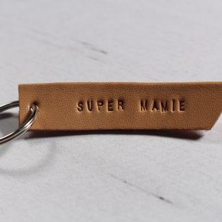 Porte clé en cuir- Super Mamie
