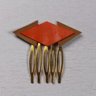 Peigne cheveux orange en cuir
