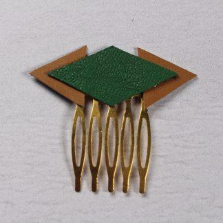 Peigne cheveux vert en cuir