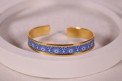 Jonc motif japonais bleu fleurs
